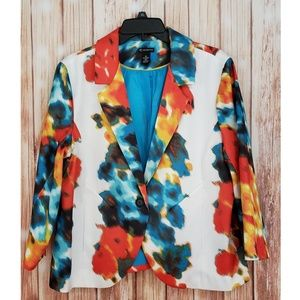 New Directions Blazer White red Blue Floral XL